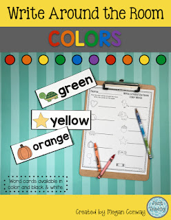 Color Words Write Around the Room, www.JustTeachy.blogspot.com