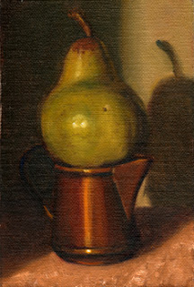 Oil painting of a green pear positioned on top of a small copper jug.