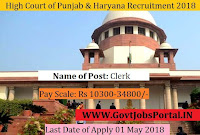 High Court of Punjab & Haryana at Chandigarh Recruitment 2018 – Clerks