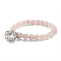 "LISA HOFFMAN FOR ORIGAMI OWL ROSE QUARTZ BEAD BRACELET 7"" WITH SILVER FRAGRANCE PENDANT available at StoriedCharms.com"