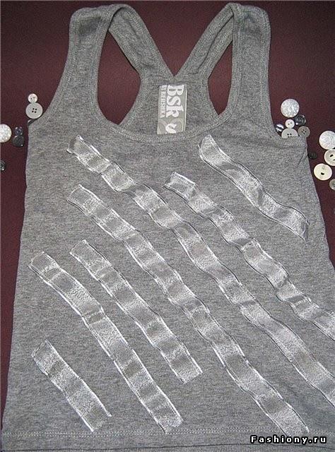 coser las cintas a la camiseta con zigzag