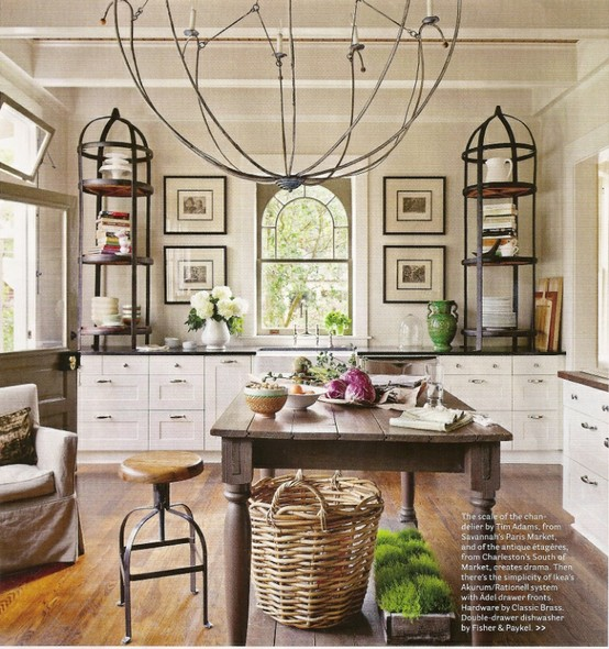 Didn T We All Fall In Love With The Etageres On Counter Tops This Kitchen Note Large Scale Chandelier Over Rustic Table