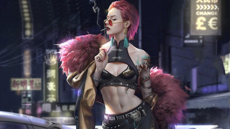 Cyberpunk, Girl, Digital Art, Sci-Fi, 4K, #127