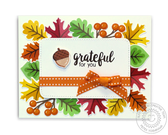 Sunny Studio Stamps: Autumn Splendor Fall Leaves Thank You Card by Mendi Yoshikawa