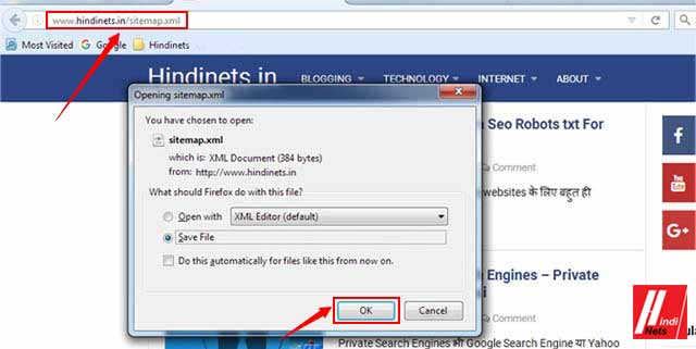 how to create sitemap for website hindinets in