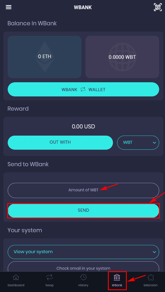 Активация депозита в WBank Wallet