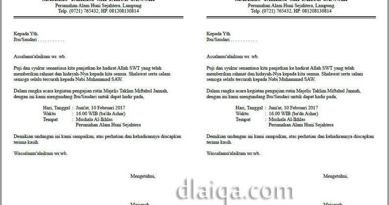contoh surat undangan majelis taklim surat 8