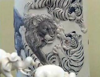 Tiger versus lion art