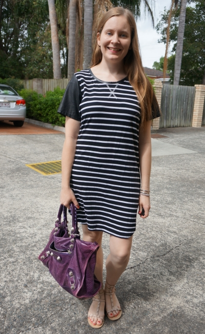 all about eve black striped tee dress contrast sleeves purple balenciaga bag | away from the blue