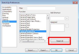 Cara mengembalikan fungsi Shortcut SketchUp yang tidak berfungsi