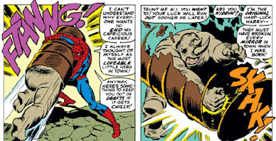 Amazing Spider-Man #43, The Rhino attacks but is trapped in a barrel by our hero, John Romita panel
