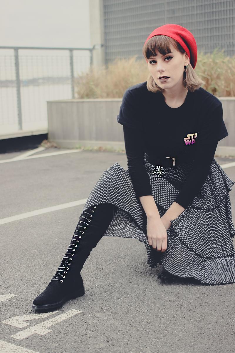 Asos Tiered Skirt, Circle Hoop Chain Belt - The Goodowl