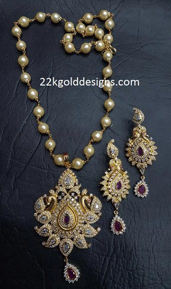 One Gram Gold Pendant Set With Pearl Chain