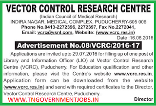 Applications are invited for Librarian Post in ICMR VCRC Pondicherry