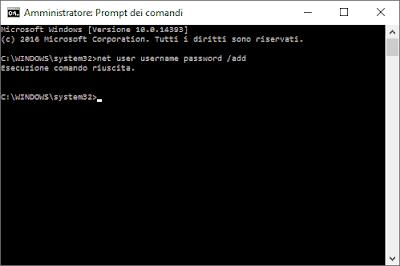 Creare un nuovo utente Windows 10 da prompt dei comandi