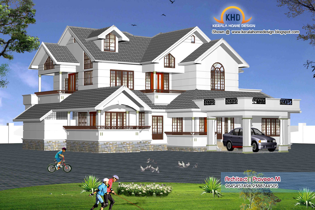 Indian Style Home 3d Renderings Kerala Home Design And