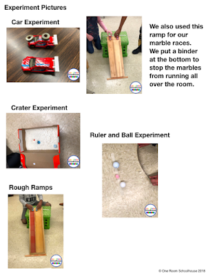 Some experiments students did to learn about friction and aerodynamics.