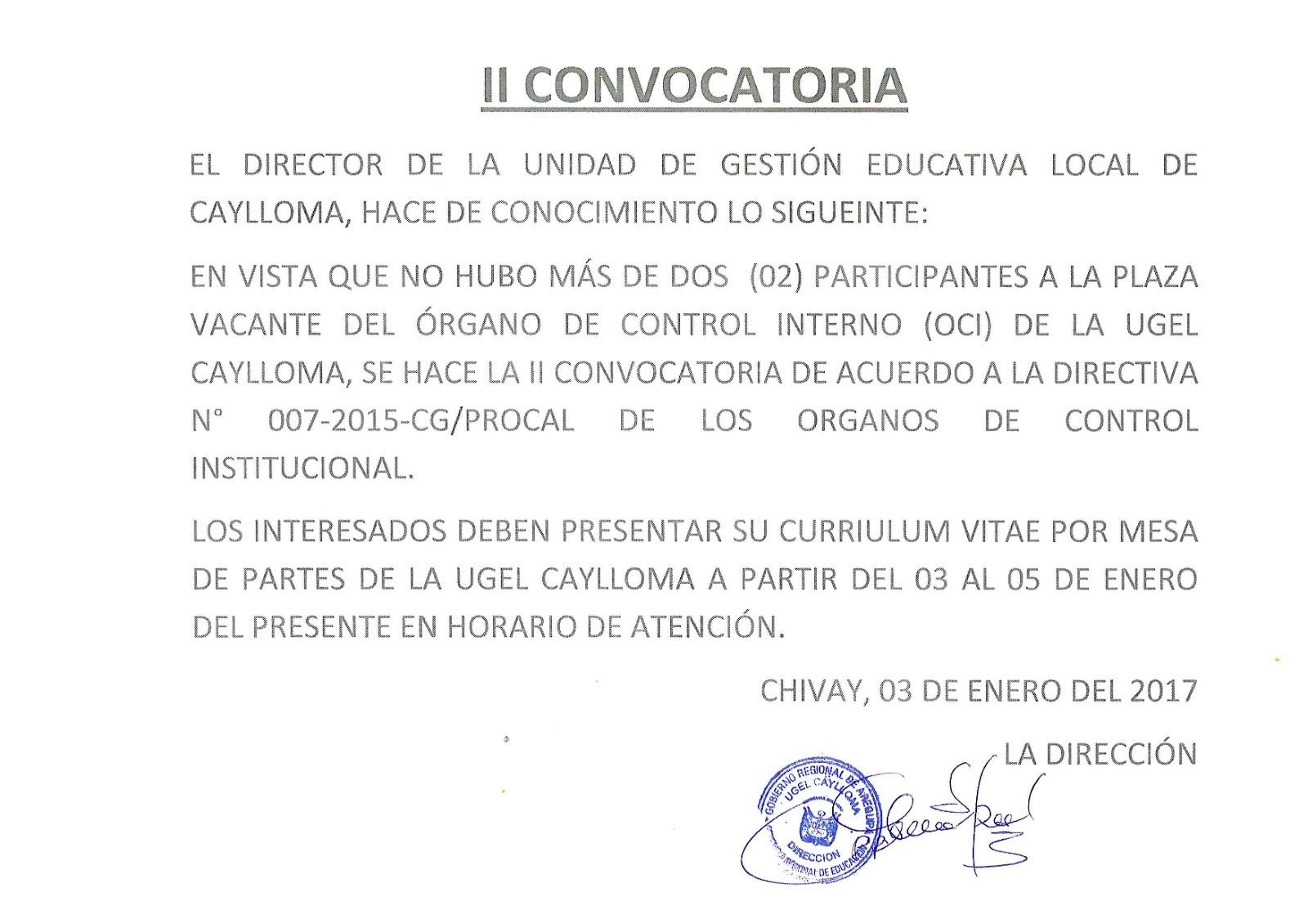 Ii convocatoria para cargo rgano de control interno for Convocatoria de plazas docentes 2017
