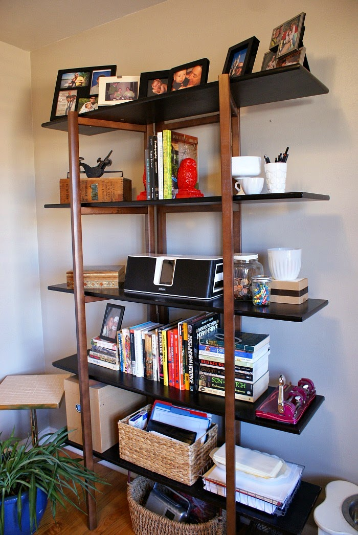 styled shelves with diy red owl bookends