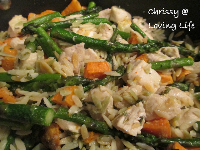Sweet Potato, Asparagus, and Chicken Orzo