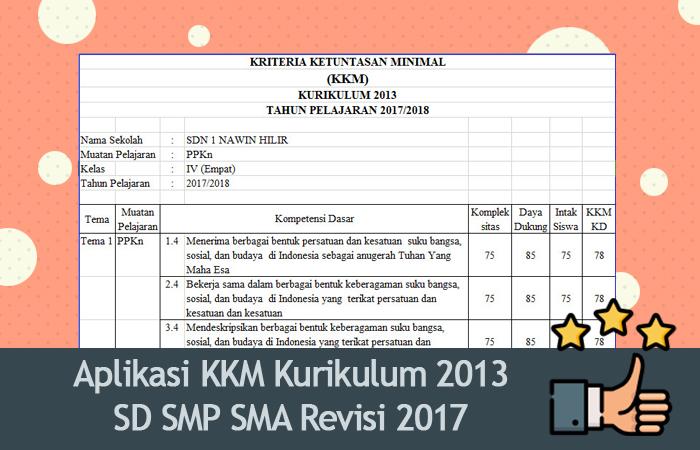Aplikasi KKM Kurikulum 2013 SD SMP SMA Revisi 2017 Format Excel
