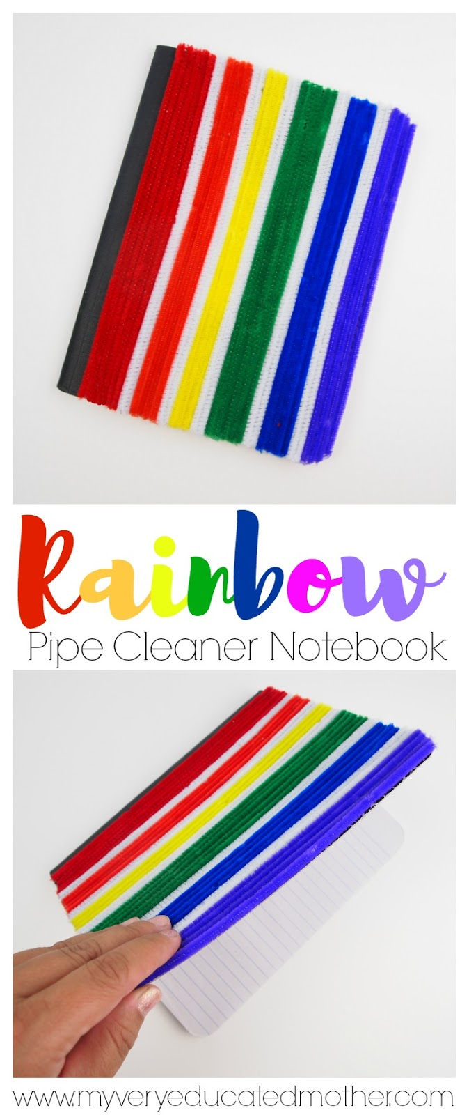 Back to School DIY Pipe Cleaner Notebook Rainbow