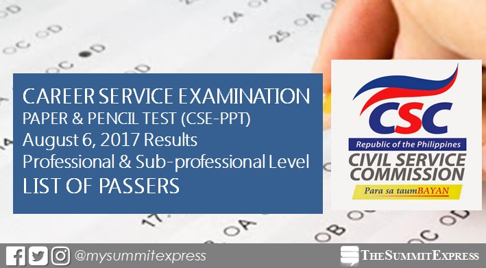 LIST OF PASSERS: Civil service exam results August 6, 2017 CSE-PPT release