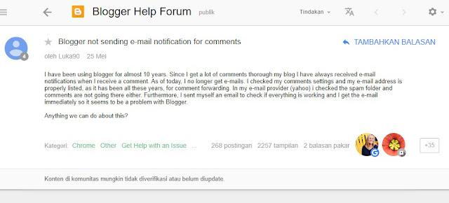 Pertanyaan di forum terkait tidak ada lagi email pemberitahuan komentar blog