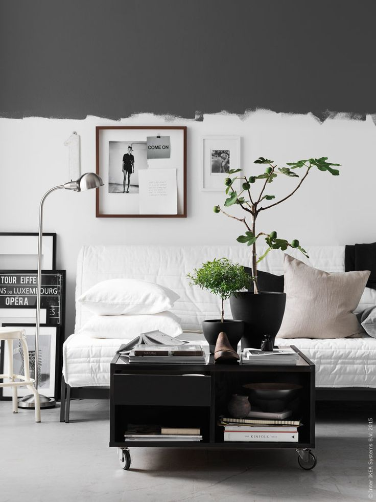 half black wall scandinavian living room