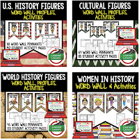 Word Wall BUNDLE, Profiles & Activity Pages (History) Digital Google Option, US & World Historical Figures, Scientists, Athletes, Authors, Black History Month Word Wall,  Women's History Month