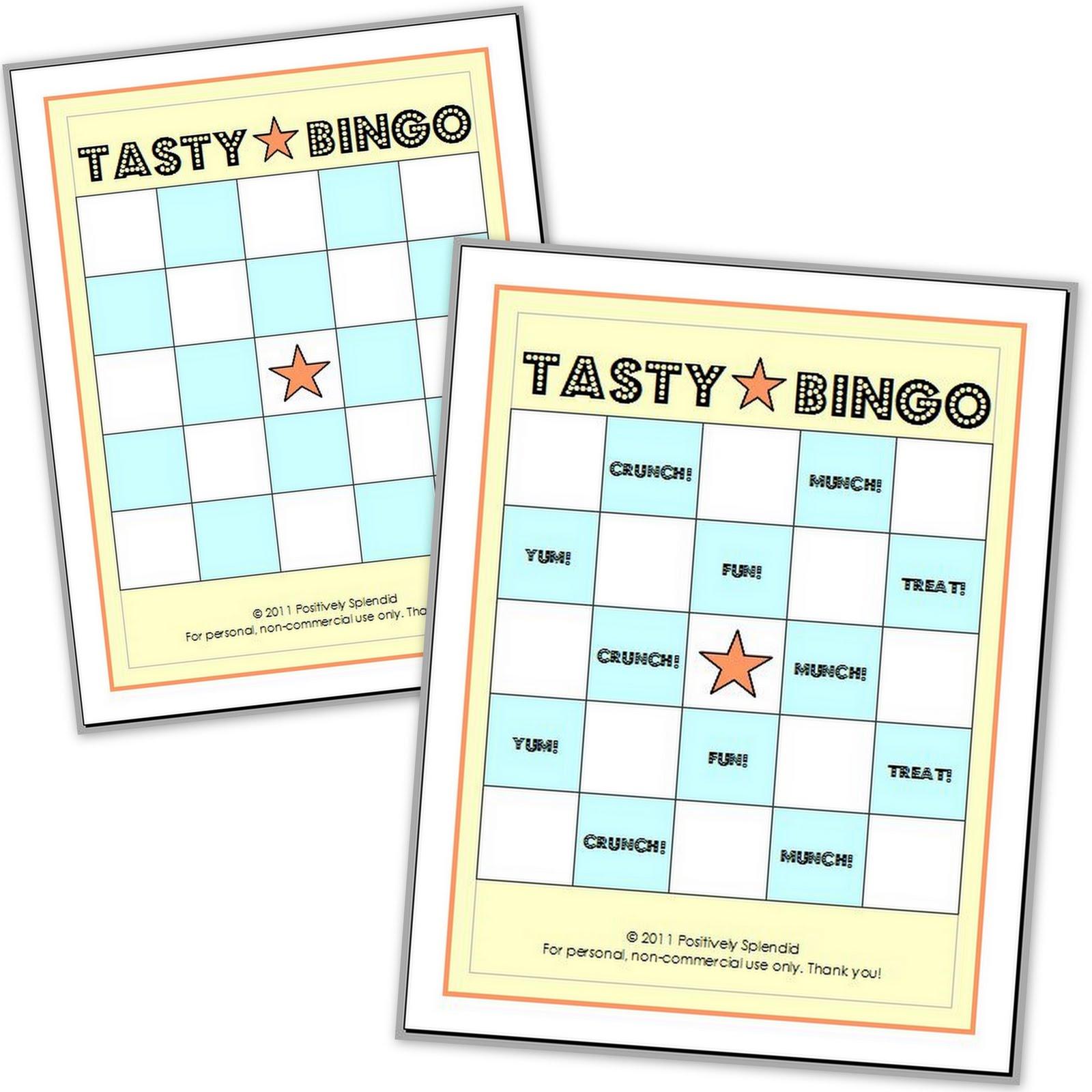 Fun Games Tasty Bingo W Free Printable