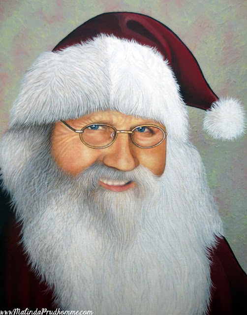 santa, santa claus, santa painting, santa art, christmas painting, father christmas, custom christmas artwork, malinda prudhomme, canadian artist, holiday painting