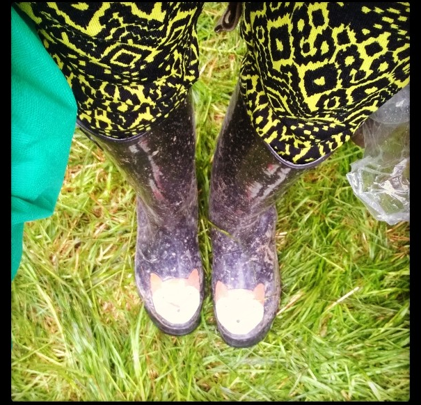 Wellies with foxes on