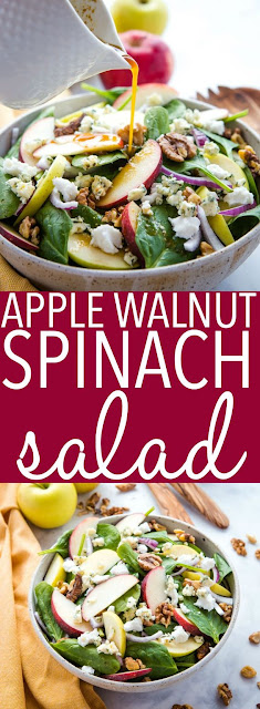 APPLE WALNUT SPINACH SALAD WITH BALSAMIC VINAIGRETTE