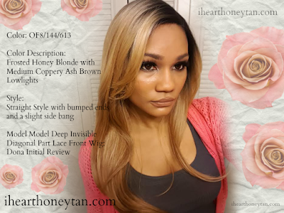 Frosted Honey Blonde with Medium Copper Ash Brown Lowlights - OF8/144/613 - Model Model Deep Invisible Diagonal Part Lace Front Wig: Dona Initial Review pic