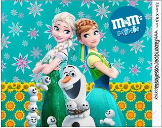 Etiqueta M&M de Frozen Fiebre Congelada para imprimir gratis.