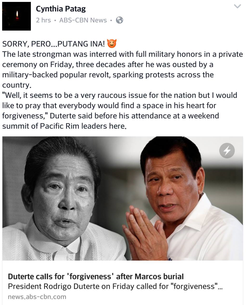 Cynthia Patag curses in response to Duterte praying for forgiveness after Marcos burial