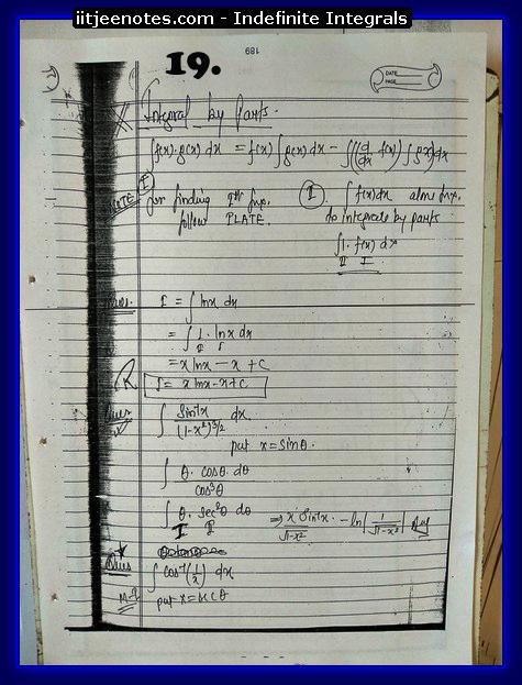indefinite integrals notes 5