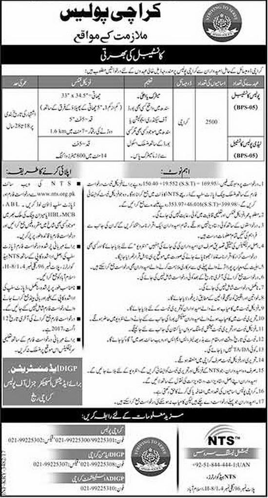 Police Constables & Lady Police Constables Jobs in Karachi Police