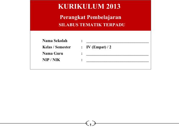 Silabus Kurikulum 2013 SD Kelas 4 Revisi 2016