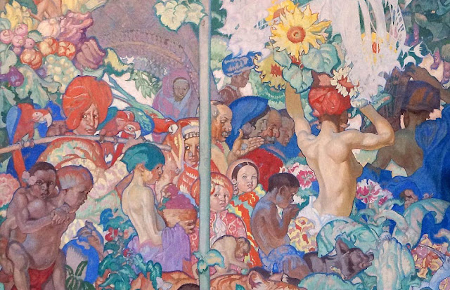 Detail of one of Frank Brangwyn's British Empire Panels at Brangwyn Hall in Swansea