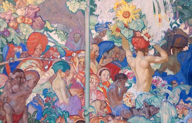Detail of one of Frank Brangwyn's British Empire Panels at Brangwyn Hall in Swansea