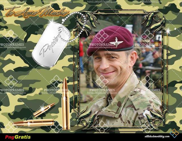 Marco digital para fotos con estilo militar