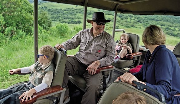 Prince Albert, Princess Charlene, and their children Prince Jacques and Princess Gabriella in South Africa