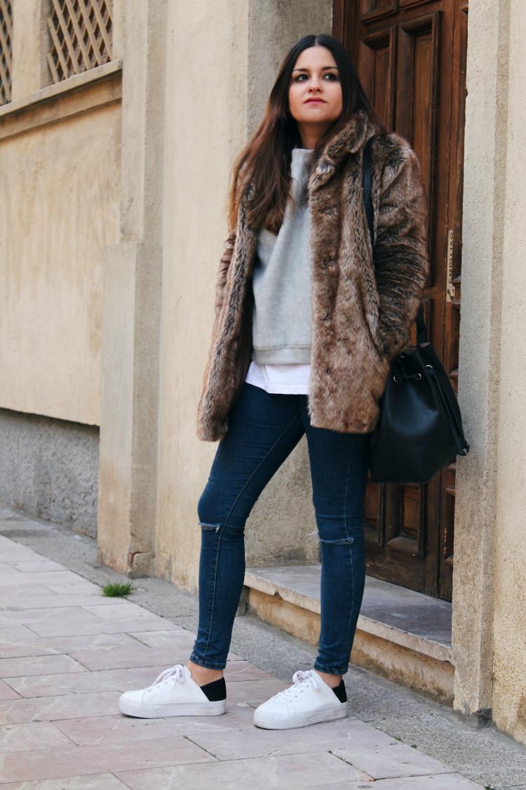 abrigo de pelo zapatillas blog moda leon