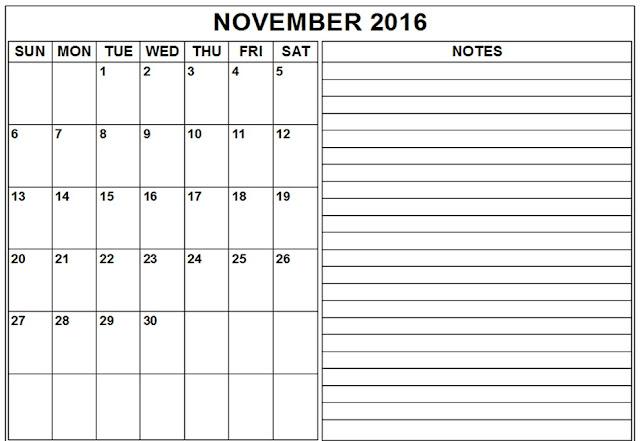 November Calendar 2016 Printable : November printable calendar templates