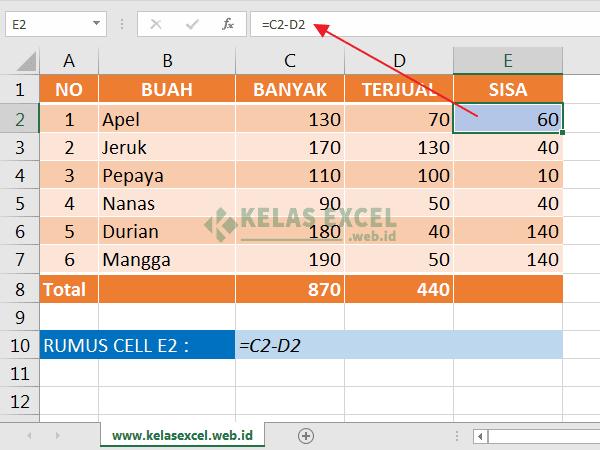 Rumus Pengurangan Excel