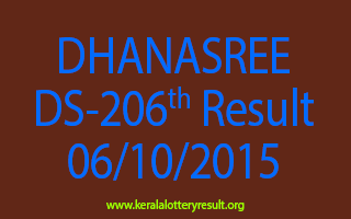 DHANASREE DS 206 Lottery Result 6-10-2015