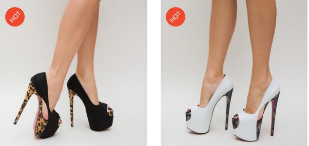 Pantofi cu toc si platforma inalta eleganti rosii, albi, negri de ocazii