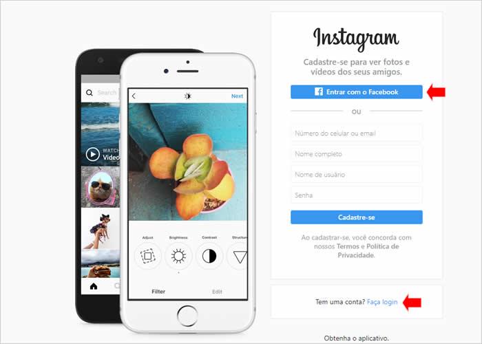 Acessando a página oficial do Instagram para enviar fotos